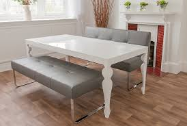 Dining Room Set With Bench White Gloss Dining Room Table And Genoa Benches Danetti Home With
