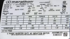 marathon y522 1 5 hp 1800 rpm 230 volts tenv 145tc new