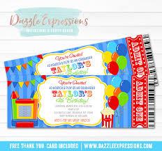 printable bounce house ticket birthday invitation troline