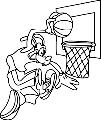goofy playing shot basketball coloring pages wecoloringpage