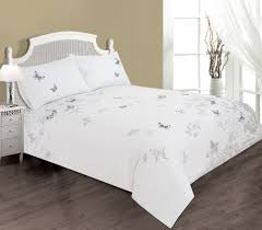 life from coloroll postcard embroidered butterfly duvet set white