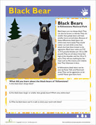 animals of yellowstone 3rd grade comprehension worksheets