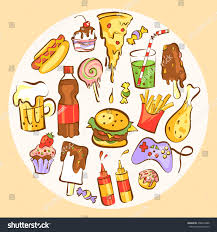 set fast food meals junk food stock vector 450053488 shutterstock
