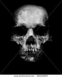 scary grunge skull isolated on black stock illustration 678908212