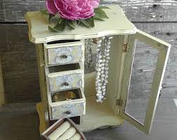 Shabby Chic Jewelry Armoire by Tall Jewelry Box Etsy