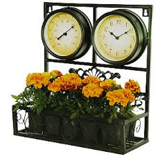 buy garden wall clock with thermometer and flower box at home bargains