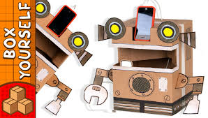 cardboard robot phone charger craft ideas with boxes diy on