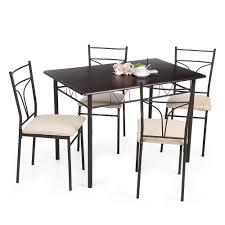 Sturdy Kitchen Table by Classical 5pcs Dining Set Wood Metal 4 Chairs And Kitchen Table