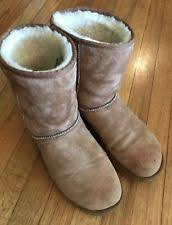 womens shearling boots size 11 ugg australia alaia chestnut suede shearling cuff 1016564 boots w