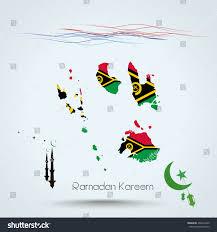 Vanuatu Map Ramadan Kareem Feast Ramadan Vanuatu Map Stock Illustration