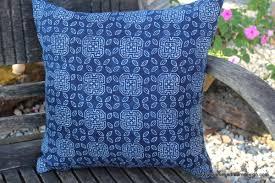 16 inch hmong pillow cushion in natural indigo batik siamese