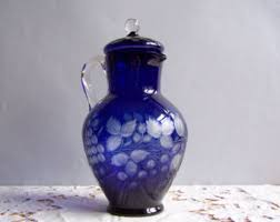 Dark Blue Glass Vase Cobalt Blue Glass Etsy