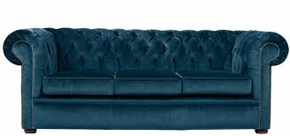City  Seater Crushed Velvet Blue Chesterfield Sofa Made In The UK - Chesterfield sofa uk