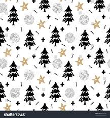 christmas pattern tree holly snow stars stock vector 490071994