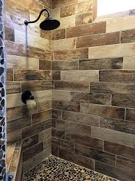 bathroom shower tile design wood look tile shower with pebble floor bathroom tiles and