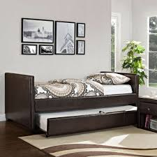 bedroom dark wood daybeds with trundles with smooth bedding on