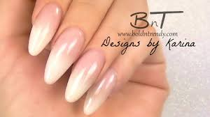 french fade ombre french baby boomer almond acrylic nails