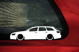 volkswagen wagon slammed 2x low lowered audi a6 rs6 c6 avant wagon vag car outline stickers
