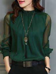 green chiffon blouse sleeve stand collar casual polyester blouse justfashionnow com