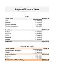 End Of Year Balance Sheet Template Business Plan Financial Calculator Projected Balance Sheet