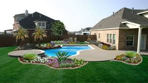 Above Ground Pool Ideas Backyard Decor U0026 Tips Inspiring Backyard Landscape With Lawn And Flower