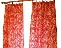 Red And Gold Damask Curtains Damask Curtains Etsy