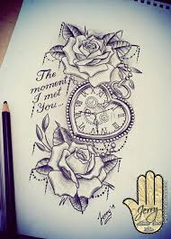 heart shaped pocket watch with rose tattoo design idea lace and