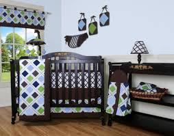 Baby Boy Bedding Themes Geenny Blue Brown Diamond 13pcs Crib Bedding Set Baby Baby