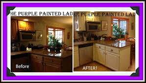 wood countertops chalk paint kitchen cabinets before and after