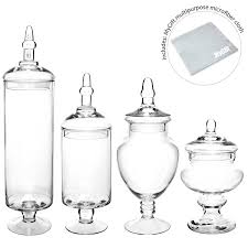 amazon com set of 4 large classic clear glass lid apothecary