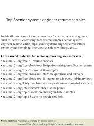 Sample Senior Software Engineer Resume Systems Engineer Resume U2013 Inssite
