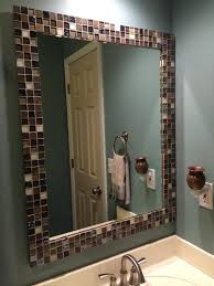 budget bathroom makeover a no grout tile mirror border easy