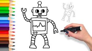 how to draw coloring pages learn how to draw a robot teach drawing coloring page youtube