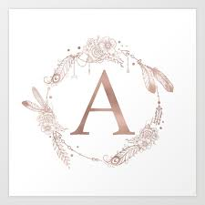 monogram letter letter a gold pink initial monogram print by naturemagick