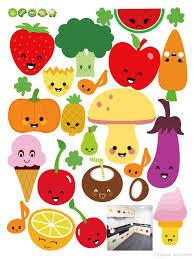 Fruit Decor For Kitchen Cute Cartoon Fruits Wall Art Mural Decor Kitchen Wall Decoration