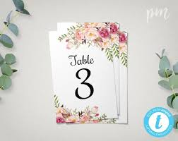 wedding table numbers template floral wedding table numbers template 4x6 printable table number