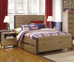 bedroom wooden boys bed with headboard and trundle added side