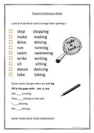 5 free esl present continuous spelling worksheets