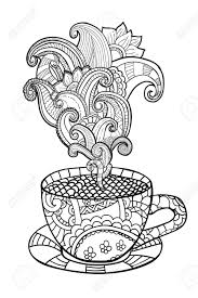 vector coffee or tea cup with abstract ornaments