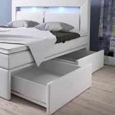 Schlafzimmer Bett Mit Led Boxspringbett 160x200 Weiß Mit Bettkasten Led Kopflicht Kunstleder