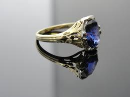 nouveau blue sapphire engagement ring