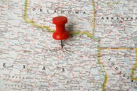 Dallas Tx Map Red Pin On Map Of Usa Pointing At Dallas Texas Stock Photo