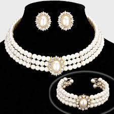 long pearl necklace set images Rhinestone trimmed pearl necklace set fashion jax fashion jpg