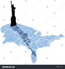 The Map Of Usa by Silhouette Statue Liberty Casts Her Shadow Stock Vector 195941786