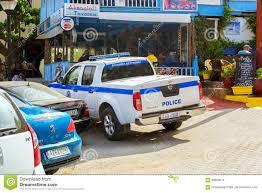 nissan navara 2017 white police pickup nissan navara parked in bali crete editorial stock