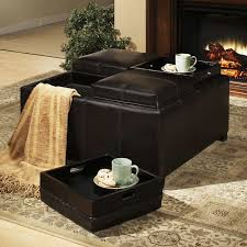 Leather Storage Ottoman Dayton 4 Tray Top Bonded Leather Storage Ottoman