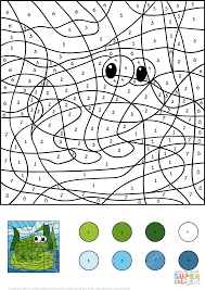 frog color by number free printable coloring pages