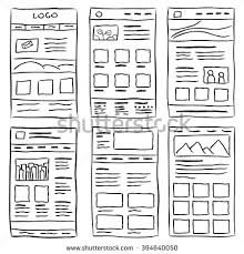hand drawn website layouts doodle style stock vector 394640050