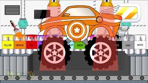 monster trucks for kids video monster truck get clean in car wash video for kids video