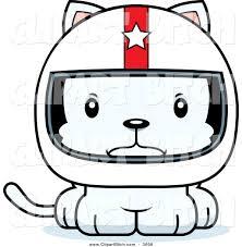 cartoon race car clip vector cartoon art of a cartoon mad white kitten cat race car